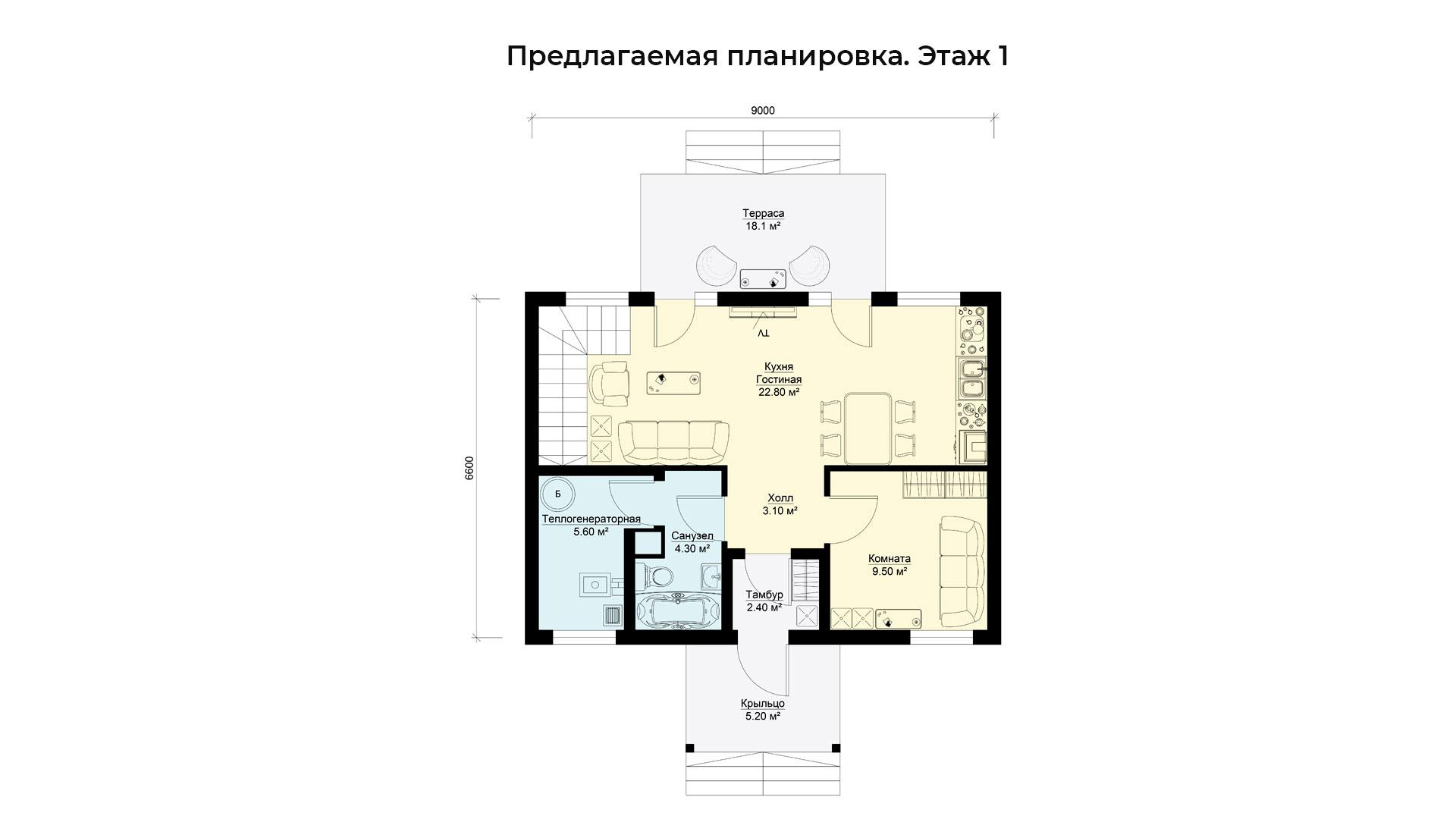 Предлагаемая планировка первого этажа коттеджа БП-105.
