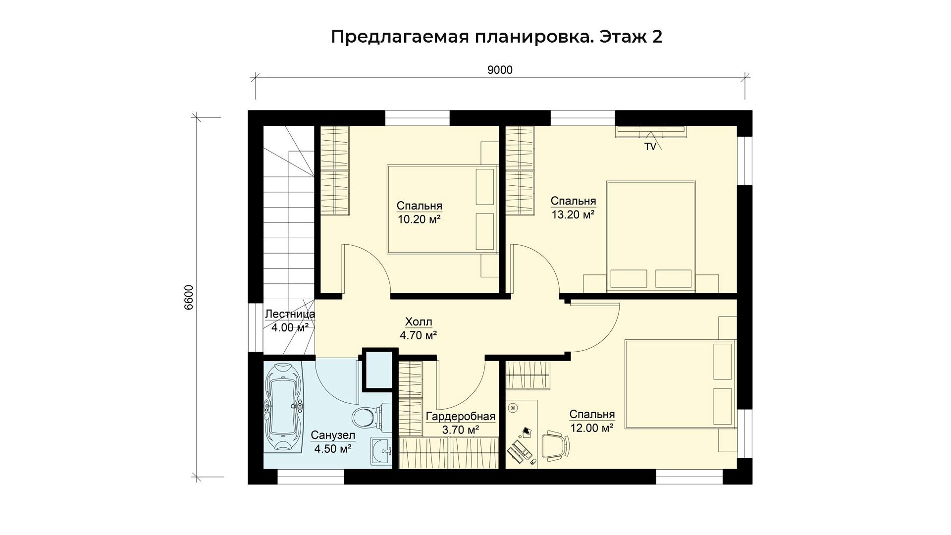 Предлагаемая планировка второго этажа коттеджа БП-105.
