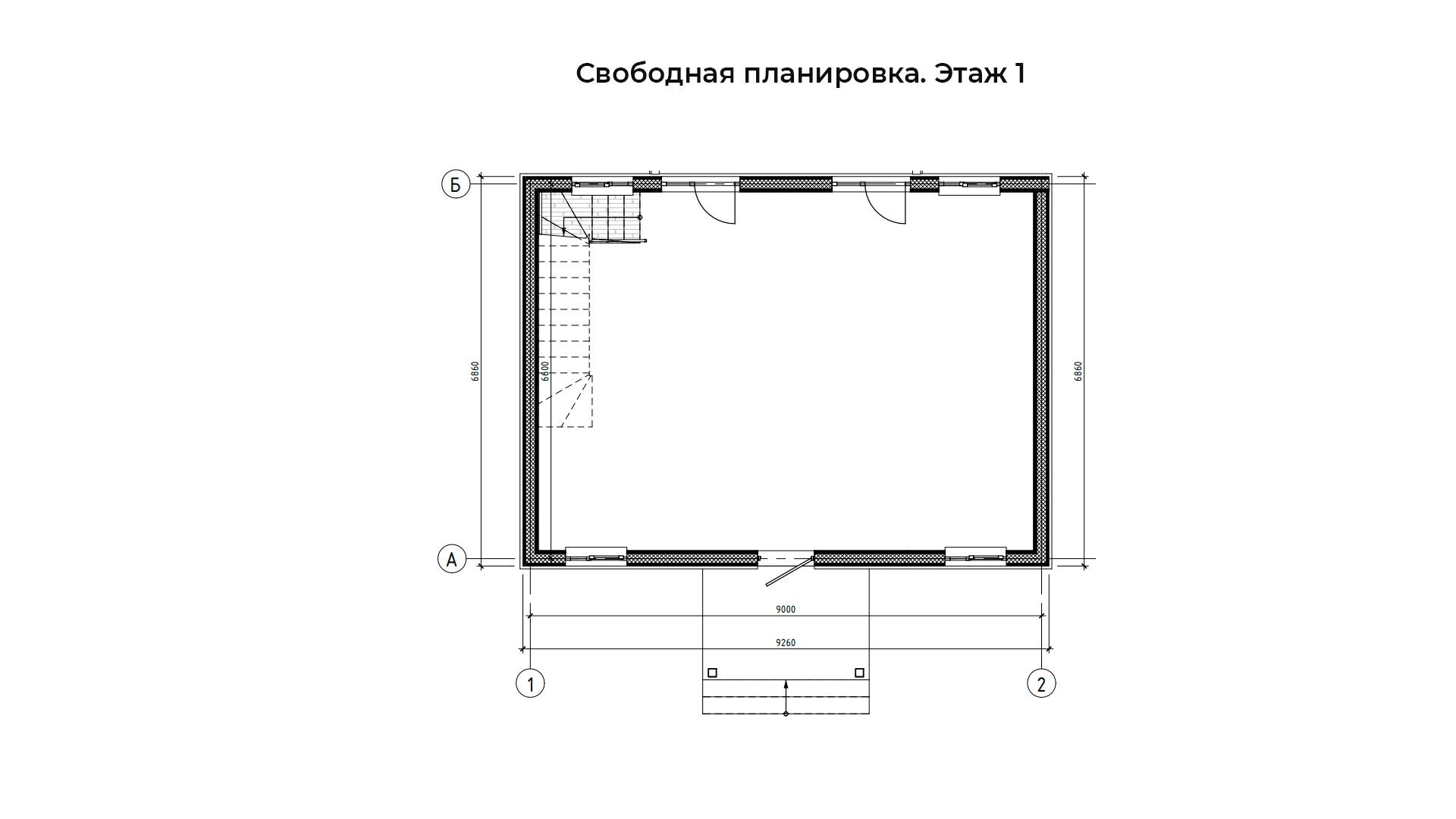 Свободная планировка первого этажа коттеджа БП-105.