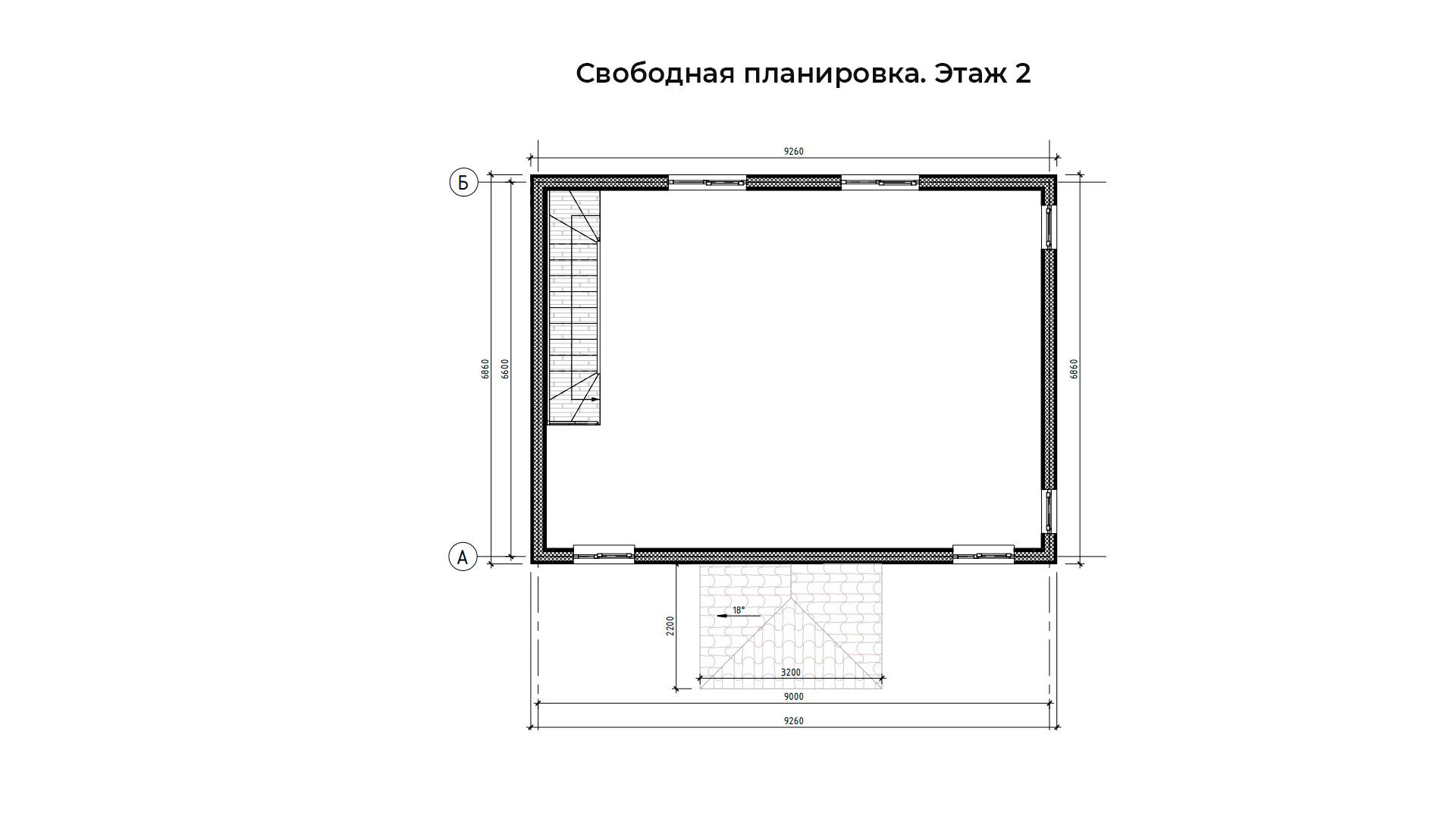 Свободная планировка второго этажа коттеджа БП-105.