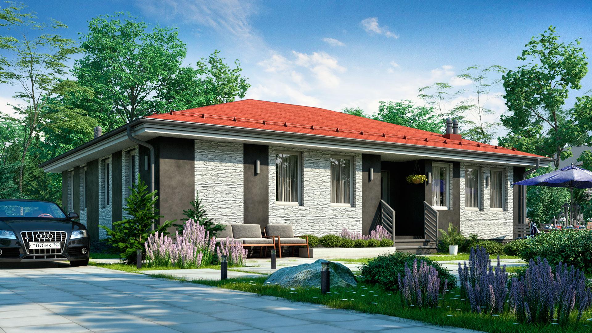 Передний фасад дома из железобетонных панелей. Проект БП-127.