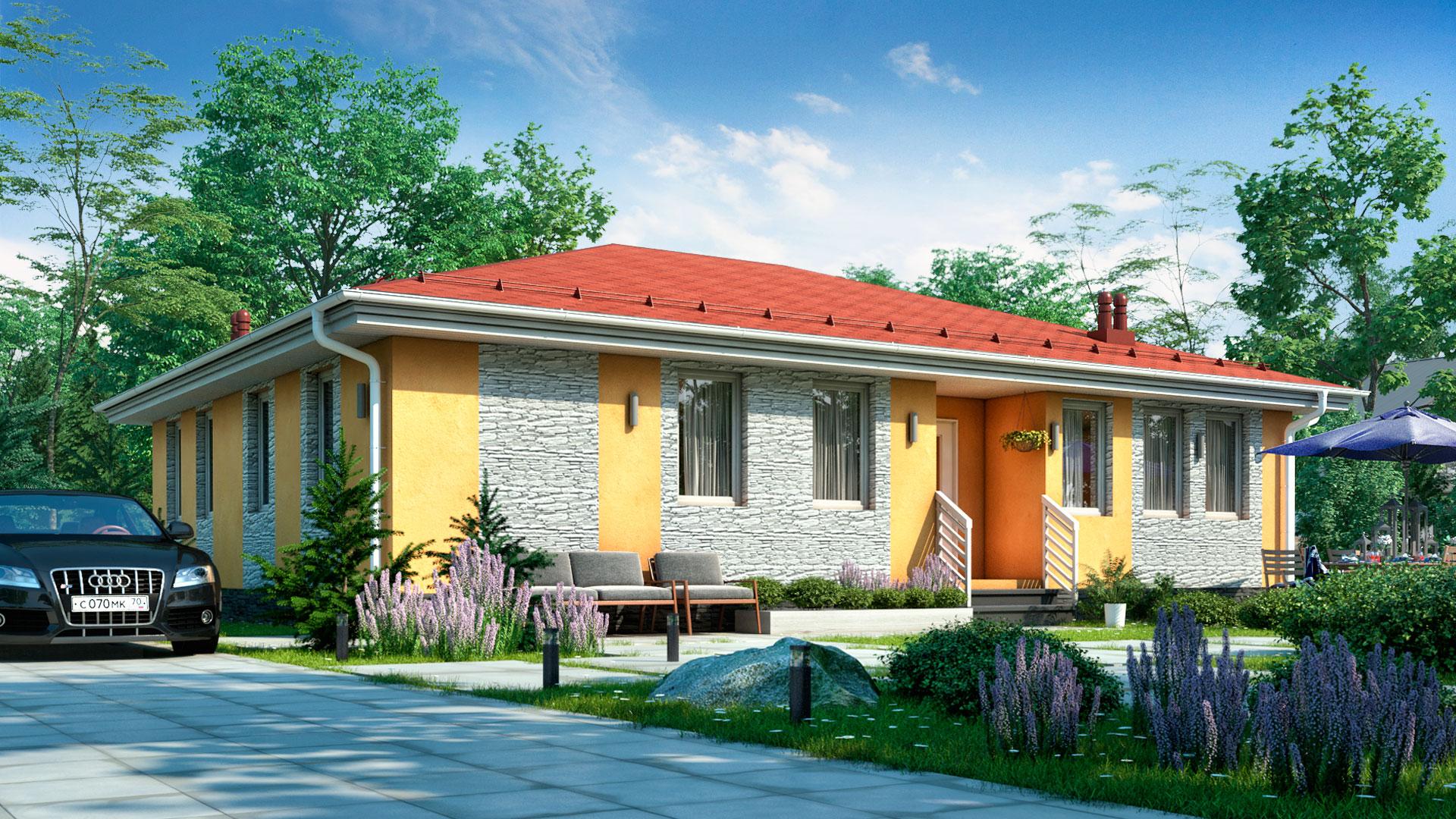 Передний фасад дома из панелей ЖБИ. Проект БП-127.